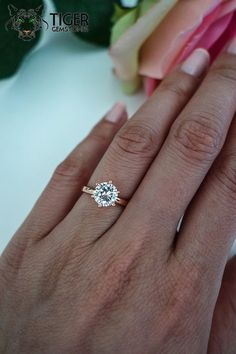 1.5 Carat Engagement Ring, ROSE Solitaire Ring, Man Made Diamond Simulant, 6 Prong Wedding Ring, Bridal Ring, Promise Ring, Sterling Silver