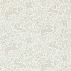 Shop for Wallpaper at Style Library: Kelda by Scion. A delightful woodland scene in a folksy style - complete with baby deer, squirrels, hedgehogs and . Beige Wallpaper, Print Wallpaper, Fabric Wallpaper, Wallpaper Roll, Pebble Color, Tropical Colors, Concept Home, Baby Deer, Lights