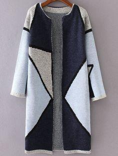 Blue Color Block Collarless Long Cardigan