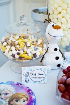 Olaf snack at a Frozen birthday party! See more party planning ideas at CatchMyParty.com!