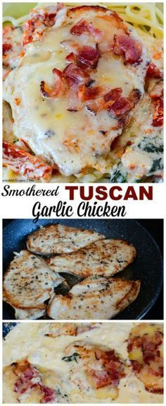 Smothered Tuscan Garlic Chicken - skip the bacon & spinach Low Carb Recipes, Cooking Recipes, Entree Recipes, Top Recipes, Vegan Recipes, Dessert Recipes, Tuscan Garlic Chicken, Bacon Chicken Recipes, Smothered Chicken Recipes