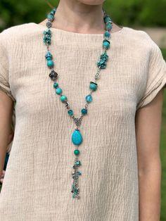 Turquoise long boho necklace, Large statement turquoise boho beads, Bohemian  #Handmade #Beaded