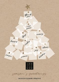 foil pressed corporate holiday card with a sticky notes christmas tree design