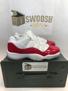 57f568d3aa8566 Nike Air Jordan 11 XI Retro Low Gs SZ 4Y White Varsity Red Cherry 528896-102