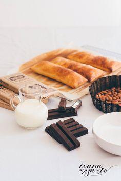 milhojas de chocolate con caramelo de almendras