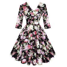 Hell Bunny Black Dahlia 1950s Dress