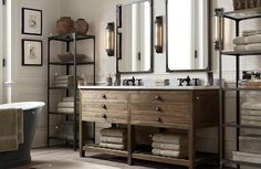 bathroom with large wooden vanity
