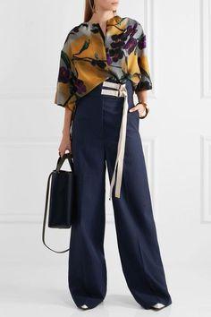 Marni | Canvas-trimmed wool wide-leg pants | NET-A-PORTER.COM