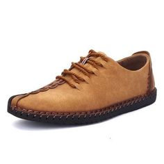 Men British Style Retro Stiching Casual Shoes