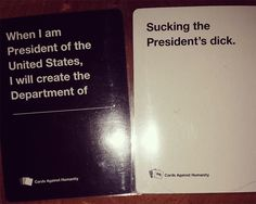 "Or when it went all political. 26 Times ""Cards Against Humanity"" Was Almost Too Perfect Cards Vs Humanity, Funniest Cards Against Humanity, Humanity Game, Funny Memes, Hilarious, Jokes, Horrible People, Funny Cards, Just For Laughs"
