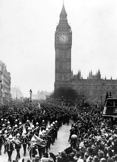 February 1940, The ships company of HMS, 'Exeter' and HMS, 'Ajax' passing Big Ben, given a rousing welcome in London after the destruction of the German battleship 'Admiral Graf Spee' which was eventually scuttled at the Battle of the River Plate (Photo by Popperfoto/Getty Images)