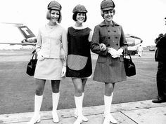 Air hostesses in the 1970s.