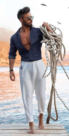 Linen Outfits For Men, Linen Pants Outfit, Summer Outfits Men, Miami Outfits, Stylish Mens Outfits, Men's Beach Outfits, Mens Linen Clothing, Casual Outfits, Men Summer Fashion