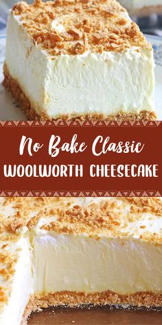 No Bake Woolworth Cheesecake is a classic, light and lemony dessert and will be ., Desserts, No Bake Woolworth Cheesecake is a classic, light and lemony dessert and will be the perfect addition to your Easter or Mother's Day menu! No Bake Desserts, Easy Desserts, Delicious Desserts, Yummy Food, Cheesecake Desserts, Unbaked Cheesecake, Fluffy Cheesecake, Healthy Desserts, Cream Cheese Desserts