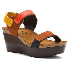 Get Naot Miracle Womens Platform Sandals Hawaiian Brown Multi Leather ED