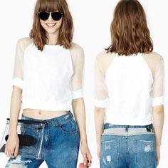 Женская сетка сплайсинга живот футболка Топ блузки культур белая