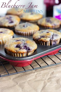 Blueberry Jam Muffins- A simply delicious way to use up any jam leftovers! These easy to make and bake BLUEBERRY JAM MUFFINS