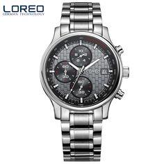 69.00$  Buy now - http://alih02.worldwells.pw/go.php?t=32786585045 - LOREO quartz sapphire water resistant 5ATM black stainless steel luminous Calendar Chronograph