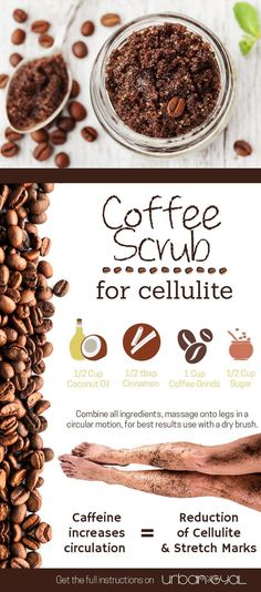 Try this Coffee Scrub to get rid of Cellulite!! Caffeine works to increase circulation and reduces water retention to help get rid of that pesky #cellulite. With only 4 simple ingredients, this scrub is quick and easy to do. DIY Coffee Scrubs are also gr