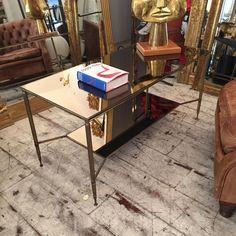 Table Basse à Double Plateau Laiton Et Miroir, Galerie Conesa, Proantic
