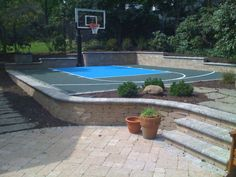 YES…A sideyard or backyard Basketball Court! I would like this please…But,… YES…A sideyard or backyard Basketball Court! I would like this please…But, I would like to be a full half court! Backyard Sports, Backyard Trampoline, Backyard Playground, Backyard Patio, Backyard Landscaping, Pergola Patio, Backyard Seating, Playground Ideas, Outdoor Basketball Court