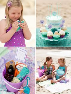 Design Dazzle: Mermaid Party: Exclusive Photos From One Charming Party... love the picnic lunch in a sand pail & flip flop favors, fun color scheme