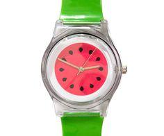 Bright and colourful watermelon watch. Fun fruit designs & quality plastic f Watermelon Wedding, Watermelon Day, Watermelon Outfit, I Carried A Watermelon, Show Da Luna, Zucchini Cake, Cake Face, Best Fruits, Savoury Cake