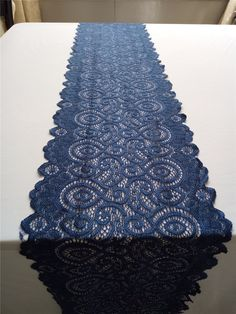 Navy blue table runner Lace table runner wide stretch lace by WellTrimmed Blue Wedding Centerpieces, Wedding Table Flowers, Wedding Table Settings, Wedding Colors, Wedding Decorations, Wedding Blue, Blue Coral Weddings, Table Wedding, Wedding Ideas
