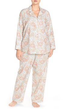 Lauren Ralph Lauren Print Brushed Twill Pajamas (Plus Size)