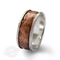 Wide Infinty Men band, Sterlind silver and Copper spinners ring, Rustic stacking silver wedding band Vintage wide ring, Handmade Jewelry by ArtisanFeel on Etsy