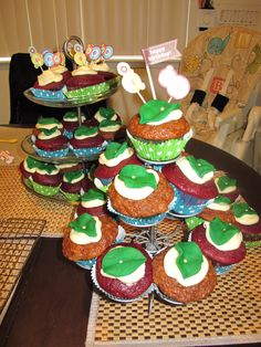 "adult cupcakes ""in the light of the moon, a little egg lay on the leaf...""  the very hungry caterpillar theme"