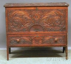 Carved Wood Blanket Chest over Long Drawer.