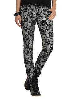 Tripp Grey Rose Lace Skinny Jeans | Hot Topic