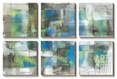 White on Blue Canvas Art Set by Jennifer Goldberger at Art.com