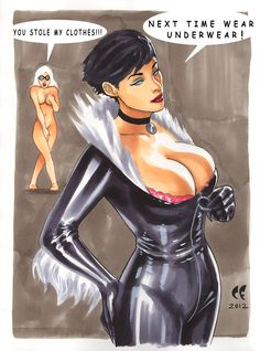 Catwoman Steals Black Cat's Outfit by daikkenaurora