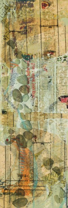 """Undercurrents II"" mixed media encaustic, 24"" x 8"" by Diane Bowie Zaitlin"