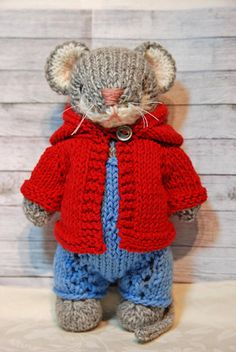 Morty- Knitted Woodland Mouse Toy in Blue Overalls and  Red Hoodie