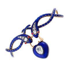 Regency Diamond, Ruby and Enamel Double Serpent Bracelet | 1stdibs.com
