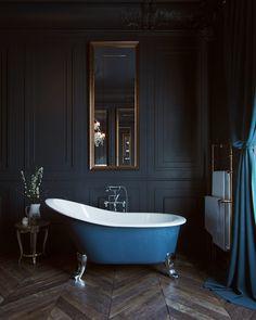 Black Haussmann by Romuald Chaigneau Black Bathroom Decor, Black Bathrooms, Bling Bathroom, Bathroom Caddy, Ikea Bathroom, Bathroom Sinks, Bathroom Accessories, Small Bathroom, Bathroom Ideas