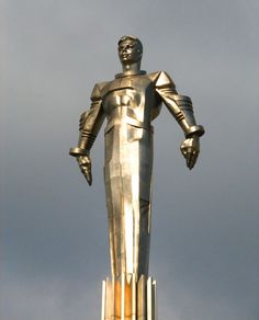 Detail of the incredible statue of first man-in-space Yuri Gagarin in Moscow. He sits atop 40 feet of deco-stylized titanium 'whoosh' (on top of a 90-foot granite pedestal.) Amazing.