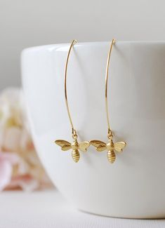 Gold Bee Earrings. Gold Plated Brass Bee Long Dangle Earrings. Bee Jewelry. Spring Summer Bee Accessory (19.50 USD) by KiraKiraDesign