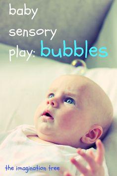 Bubbles for baby let big sib blow the bubbles (4 months)