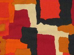 PAIR Orange MOD Abstract LOFT ART Vintage Barkcloth Era Fabric Drape Curtains