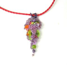 Beaded jewelry Colorful Seed bead pendant freeform peyote by ibics, $35.00