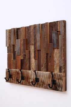 Reclaimed wood art coat rack 24x18.5x4 by CarpenterCraig on Etsy, $295.00