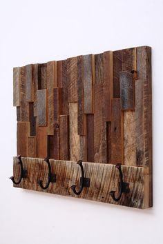 Reclaimed wood art coat rack 24x18.5x4 by CarpenterCraig on Etsy, $295.00