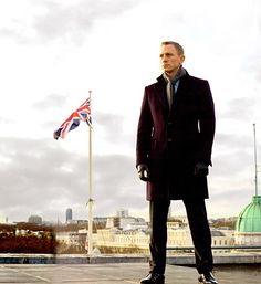 James Bond. Pea Coat, Scarf, Leather Gloves.