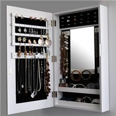 White Colour Wall Mount Space Saving Mirrored Jewellery Cabinet   Jewellery  Organizers Jewellery Organizers