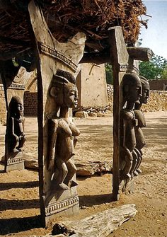 Africa | Details of the wonderfully carved posts from a traditional dogan toguna (men's meeting house).  Mali | © via valtram, via flickr