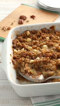 Apple crisp comes together easily with Betty's new oat bar mix. Make it a complete dessert by adding a scoop of vanilla ice cream or a dollop of whipped cream!